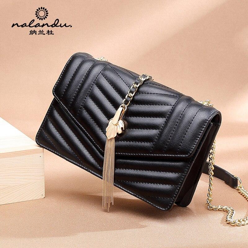 Nalan Du Cowhide Bag Women's 2020 New Style Shoulder WOMEN'S Bag Chain Bag WOMEN'S Single-shoulder Bag Square Sling Bag Women's