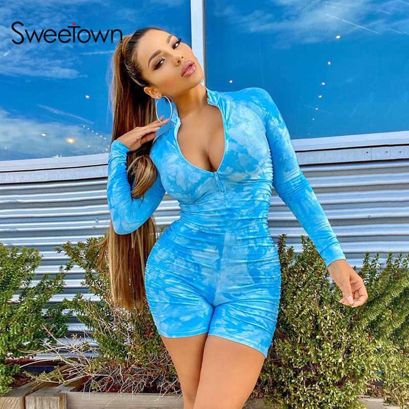 Sweetown tie dye impressão sexy workout playsuit feminino activewear manga longa macacão de fitness uma peça fatos de treino