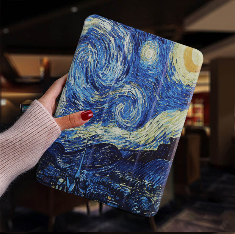 Van Gogh Red Tablet case for Apple iPad 10 2 2019 iPad 7 7th Generation Flip Stand Case Trifold