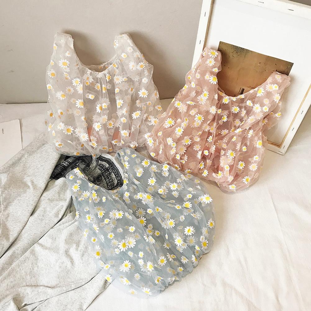 2020 Summer Women Small Transparent Tote Mesh Cloth Bag Daisy Embroidery Handbag Eco Friendly Fruit Shopping Bag Purse For Girls