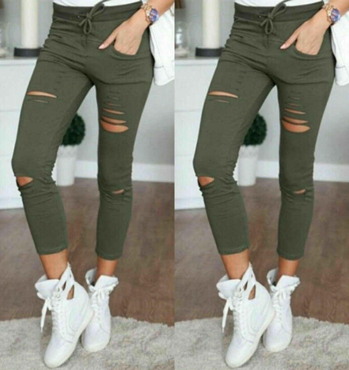 2020 Cargo Pantaloni Delle Donne di Modo Sottile A Vita Alta Elastica Skinny Rotto Foro Pantaloni Della Matita di Colore Solido Streetwear Pantaloni Delle Donne