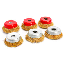 1Pc Wire Wheel Grinding and Rusting Angle Grinder Metal Polishing Wheel Stainless Steel Bowl Type Grinding Wire Brush Wheel