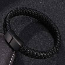 Punk Men Jewelry Braided Leather Bracelet Men Handmade Bracelet Trendy S.Steel Magnetic Clasp Male Woven Wristband Gifts PW740(China)