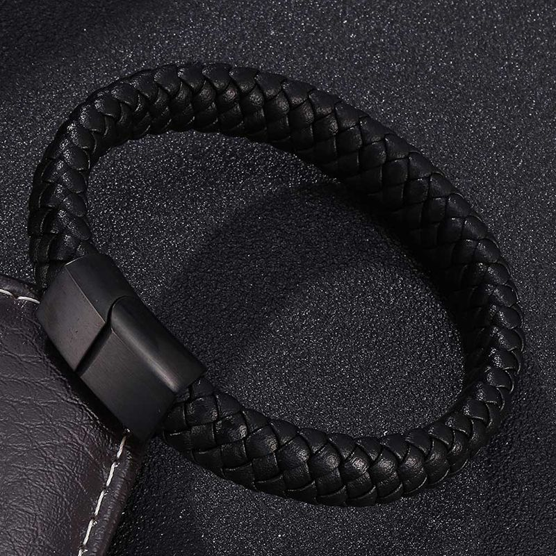 Punk Men Jewelry Braided Leather Bracelet Men Handmade Bracelet Trendy S.Steel Magnetic Clasp Male Woven Wristband Gifts PW740