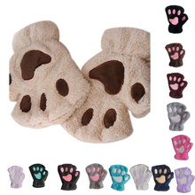Women Cute Cat Claw Paw Plush Mittens Warm Soft Plush Short Fluffy Bear Cat Gloves Costume Half Finger Fingerless Gloves cheap FangNymph Adult Cashmere cartoon Wrist Fashion PS13236