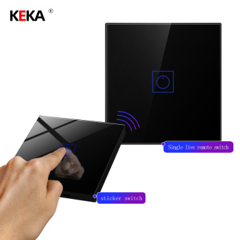 KEKA luxury wireless remote control touch switch standard lighting switch black tempered glass wall power sensor switch waterproof us au black touch jingle door bell wall switch tempered glass touch doorbell switch free shipping
