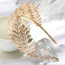 1 pc novo casamento nupcial faixas de cabelo folhas de ouro vintage grinalda headbands para mulheres pérola pentes de cabelo moda cabelo accessises