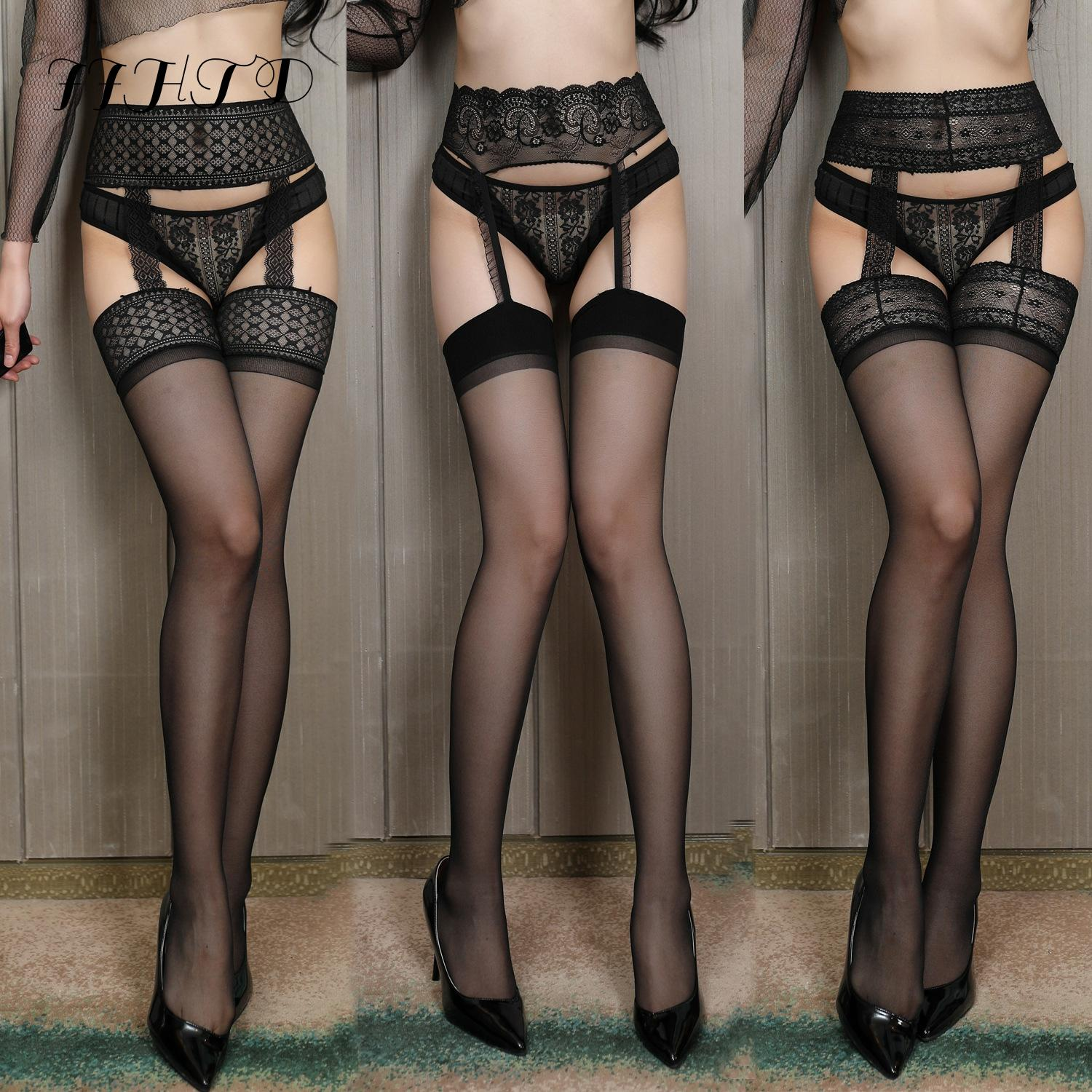 Sexy Stocking Lace Soft Top Thigh-Highs Stockings + Suspender Garter Belt Stocking Lingerie And Women's Sexy Lace Stockings