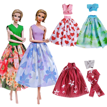 Newest Fashion  high quality 5 dresses/set doll accessories pink purple green red clothes For Barbie Doll Best DIIY Gift