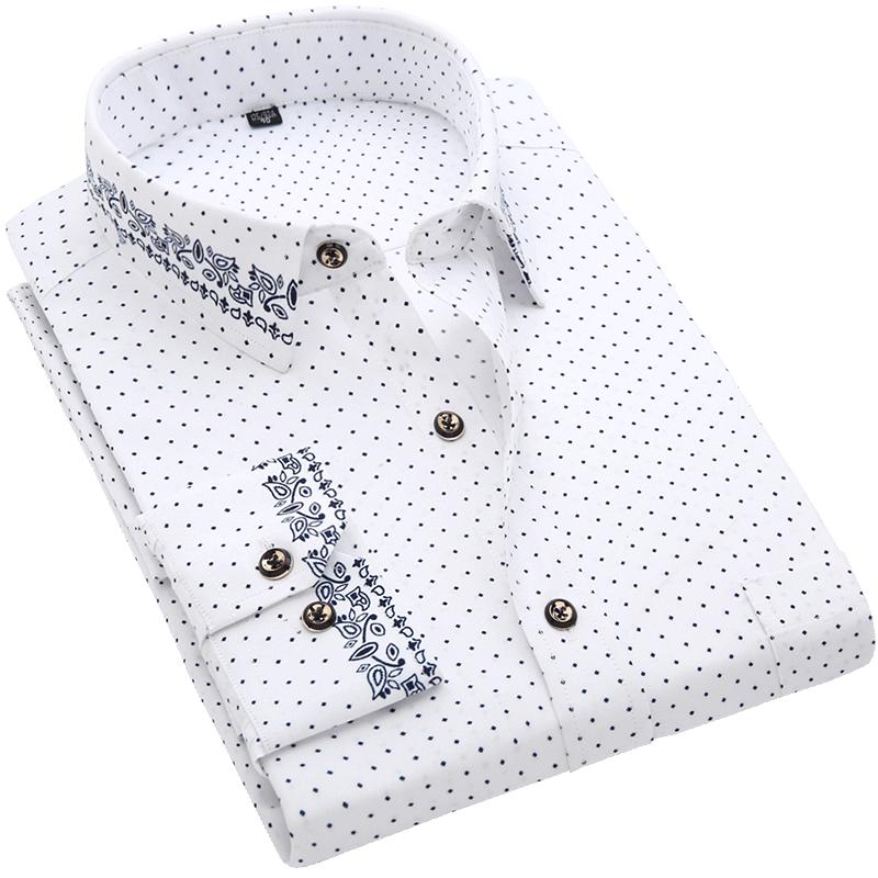 Men Shirt Long Sleeve Floral Printing Plaid Fashion Pocket Casual Shirts 100% Polyester Soft Comfortable Men Dress Shirt DS375 1