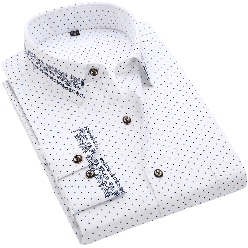 Men Shirt Long Sleeve Floral Printing Plaid Fashion Pocket Casual Shirts 100% Polyester Soft Comfortable Men Dress Shirt DS375