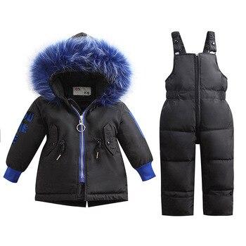 2020 new children's down jacket suit baby hooded bib boys winter girls