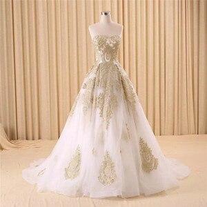 Image 1 - Vestido de noiva real photo di Lusso Una Linea Ricamato In Oro Applique In Rilievo Sweetheart abito da sposa madre della sposa abiti