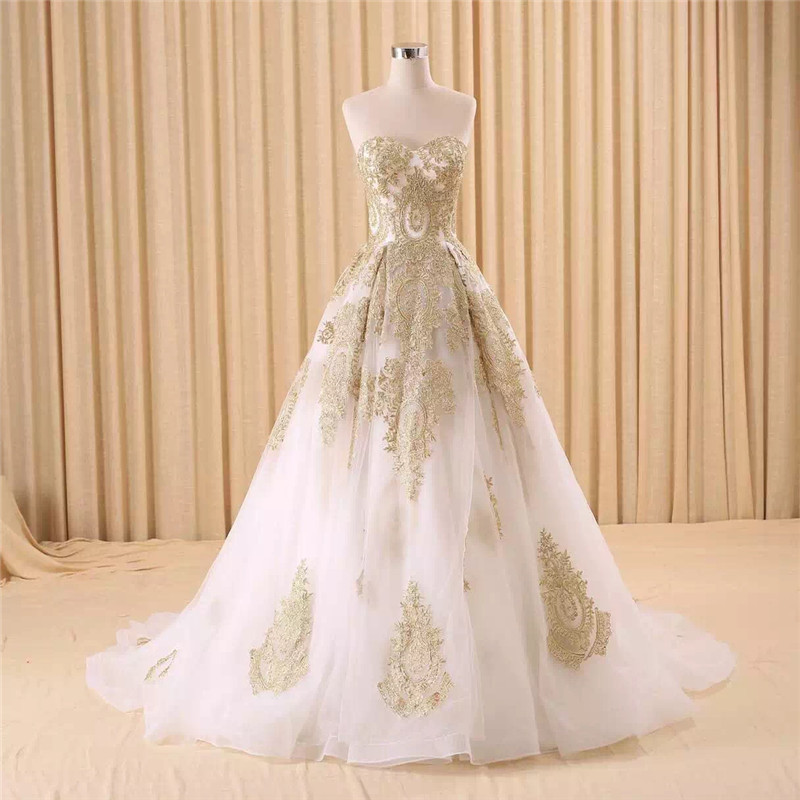 vestido de noiva real photo Luxury A Line Embroidered Gold Applique Beaded Sweetheart bridal gown mother of the bride dressesMother of the Bride Dresses   -