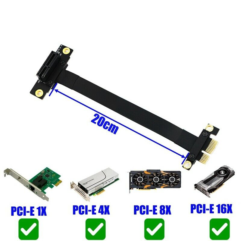 90 Degree Pci-E Pci Express 1X To 1X Slot Riser Card Converter Extender Ribbon Adapter Extension Cable Pci-E X1 20CM 30CM