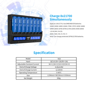 Image 2 - XTAR 18650 Battery Charger VC8=VC4+VC4S QC3.0 Fast Charger Type C Charging LCD Display USB Charger For 21700 20700 18650 Battery