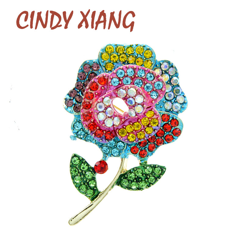 CINDY XIANG Rhinestone Flower Brooches For Women Elegant Spring Design Brooch Enamel Jewelry High Quality 2 Colors Available