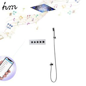 Image 5 - Hm יוקרה מוסיקה מערכת מקלחת אמבטיה מקלחת ברז Led גשם מקלחת תרמוסטטי מיקסר עיסוי מוסיקה מקלחת מטוסי גוף
