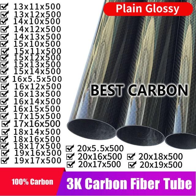 Бесплатная доставка, 13, 14, 15, 16, 17, 18, 19, 20 мм, Длина 500 мм, высокое качество, гладкое, глянцевое, 3K, трубка из углеродного волокна