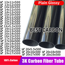 Free shiping 13 14 15 16 17 18 19 20mmm with 500mm length High Quality Plain glossy 3K Carbon Fiber Fabric Wound Tube
