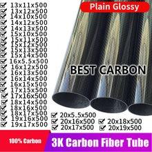 Ücretsiz kargo 13 14 15 16 17 18 19 20mmm 500mm uzunluk ile yüksek kaliteli düz parlak 3K karbon Fiber kumaş yara tüpü