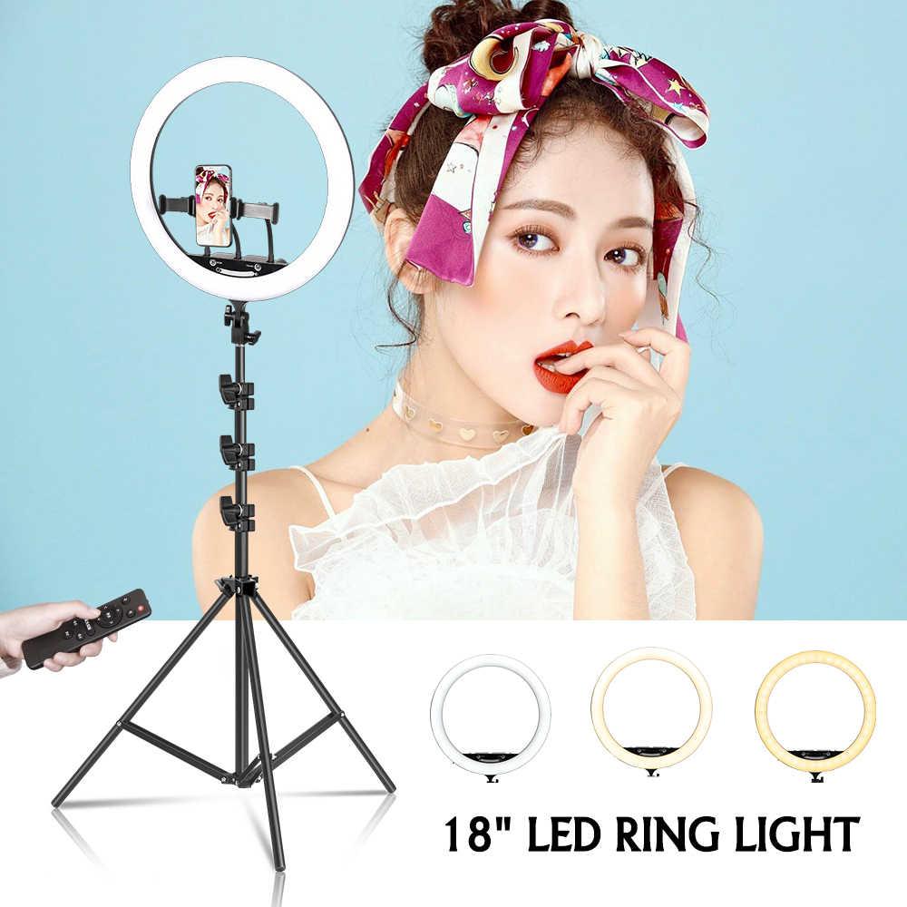 18 インチ/45 センチメートル led リングライト写真撮影 selfie リングランプ youtube のフォトスタジオビデオライト三脚電話