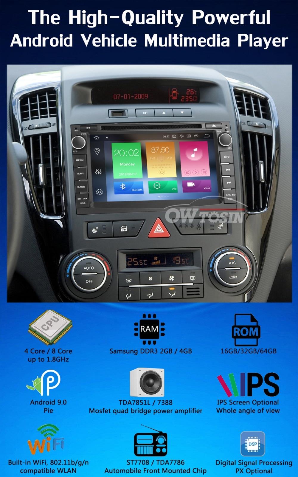 "Top 7"" PX6 4G+64G 2 Din Android 9.0 Car DVD Multimedia Player For KIA Ceed 2009 2010 2011 2012 Venga Radio GPS Navigation DSP CarPla 1"