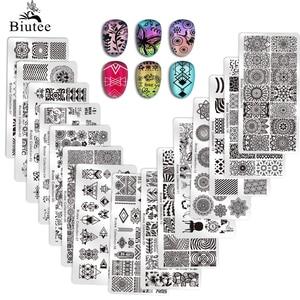 Biutee Nail Stamping Plates Stamper Scraper Nail Template Flowers Geometric Patterns DIY Nail Designs Manicure Stamp Plate