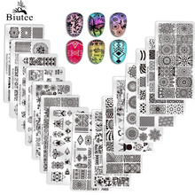Biutee נייל Stamping צלחות סטמפר מגרד נייל תבנית פרחים גיאומטרי דפוסים DIY נייל עיצובים מניקור חותמת צלחת