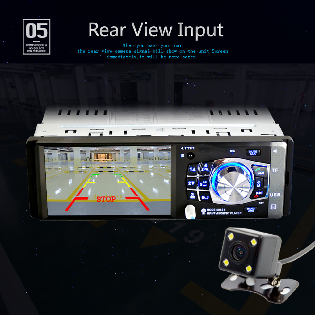 4.1 inch LCD 12V 1 DIN Car Stereo Video MP3 MP5 Player Bluetooth FM Radio USB with Rear View Camera and Remote image