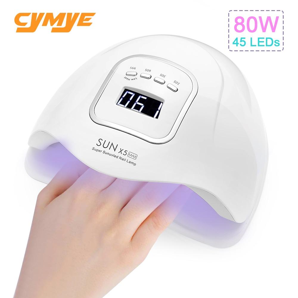 Cymye солнце X5 макс 80 Вт Светодиодная УФ-лампа для ногтей сушилка