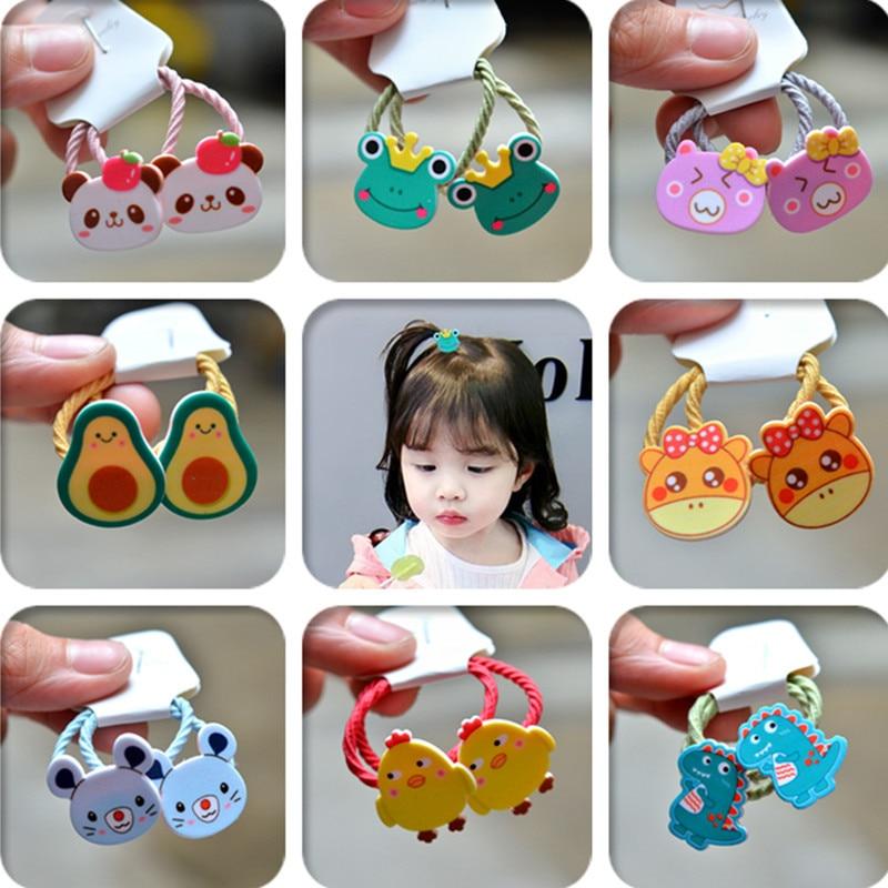 2PCS New Cartoon Cute Avocado Frog Princess Headwear Kids Elastic Hair Bands Children Ropes Girls Accessories Baby Headdress