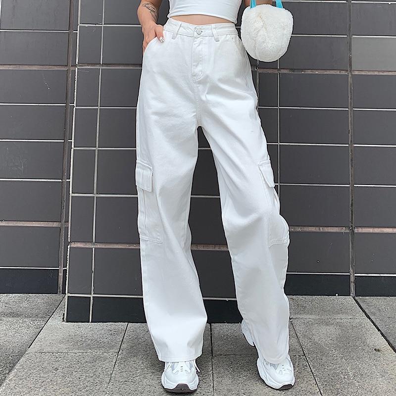 Weekeep Pockets Patchwork High Waist Jeans Women Streetwear Straight Jean Femme Blue 100% Cotton Cargo Pants 4