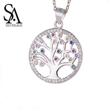 SA SILVERAGE Mosaic Round Pendant S925 European and American New Female Sterling Silver Tree of Life Necklace Platinum
