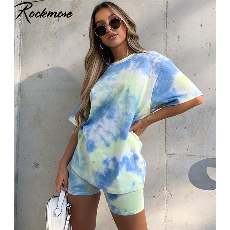 Rockmore Tye Dye 2 Pieces Tracksuits Women 2 Piece Sets Streetwear Loose T-Shirts Shorts Ladies Shorts And Top Set Outfits Sets