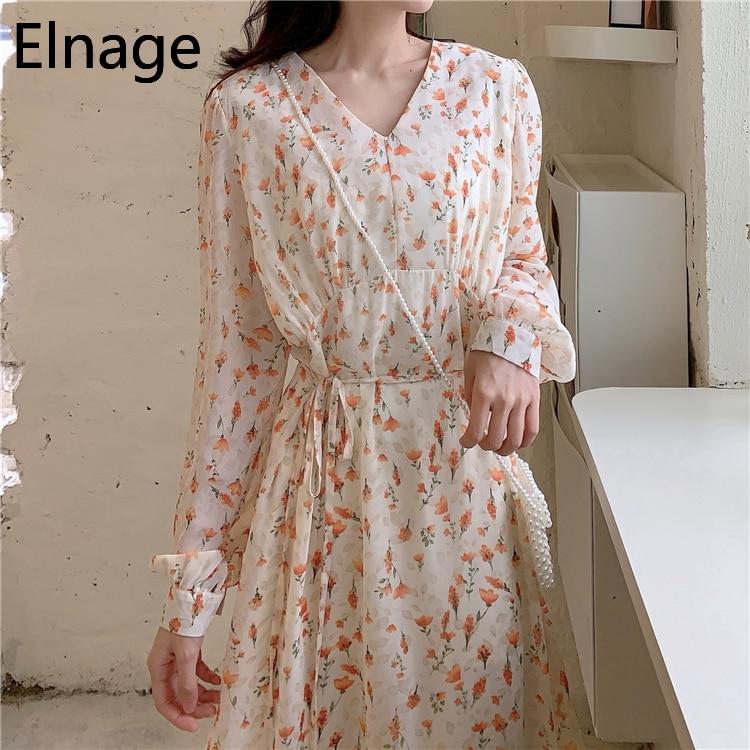 Elnage Floral Dress Women's Spring 2020 New Korean Long Sleeve Vestidos Thin Waist Slim V Neck A-line Women Clothes 5A144