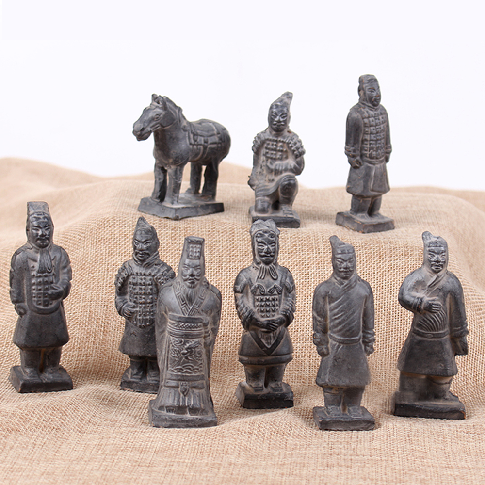 9 шт./компл. Китайская армия керамическая фигурка династии Цинь армии Скульптура украшения дома Глиняные изделия с подарочной коробкой