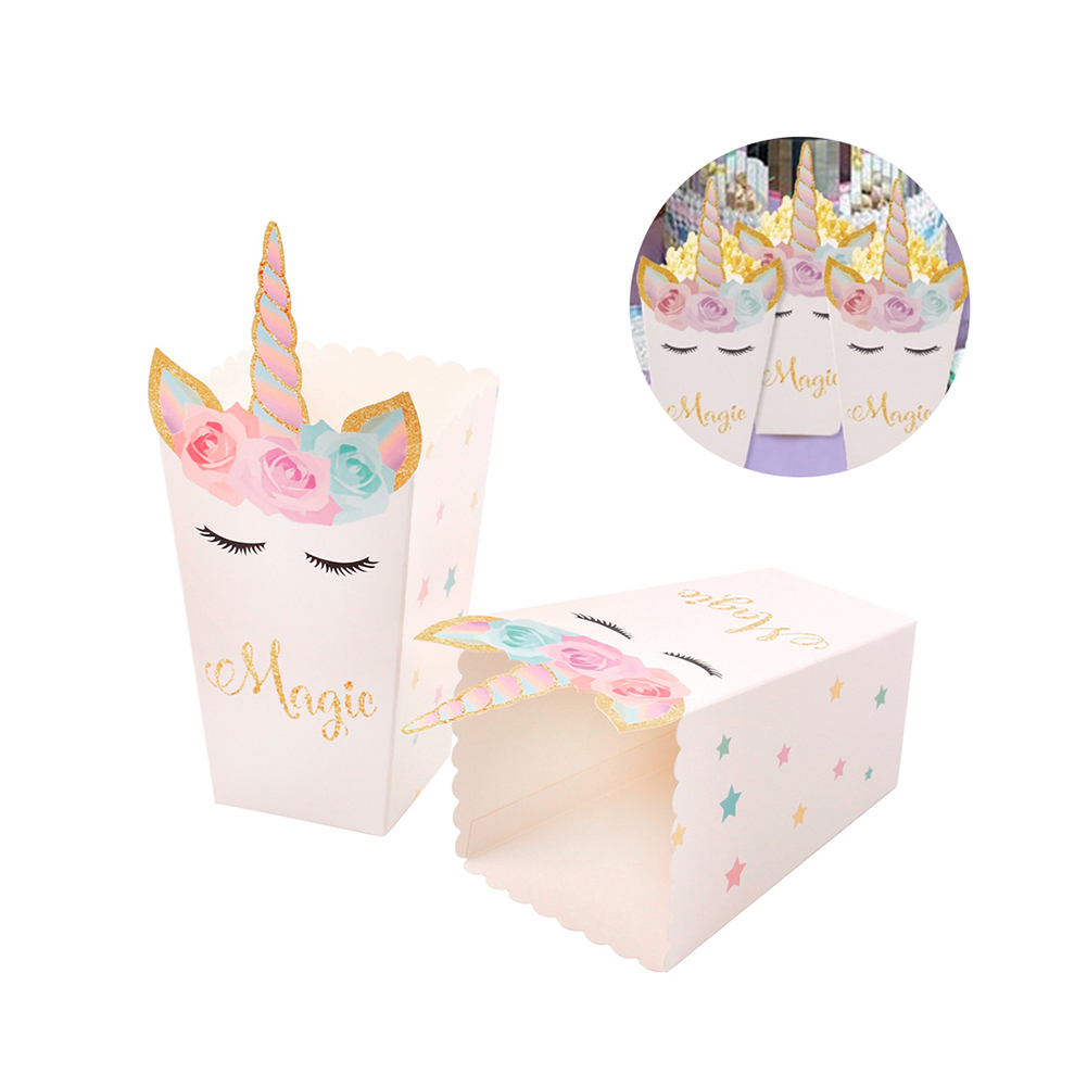 12Pcs Unicorn Party Popcorn Boxes DIY Birthday Party Decor Popcorn Treat Containers Bags Bucket Holder Baby Shower Kids Favors