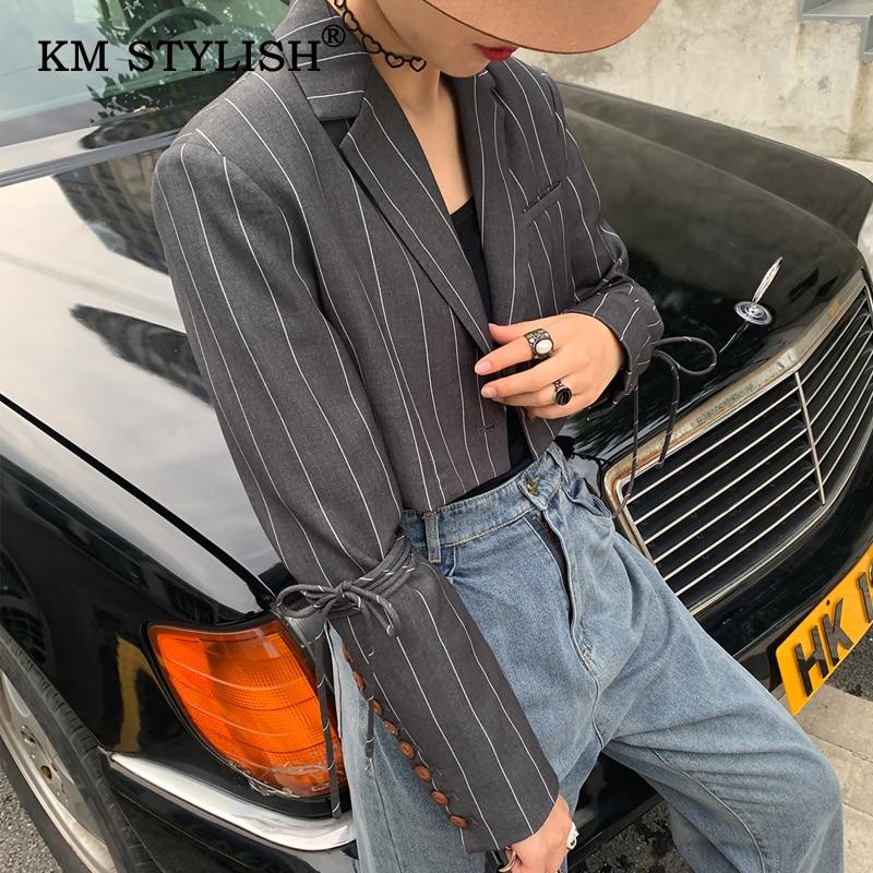 Blazer Bandage STYLISH Outwear Striped Women Fashion Long-Sleeve Gray Ribbons KM Short