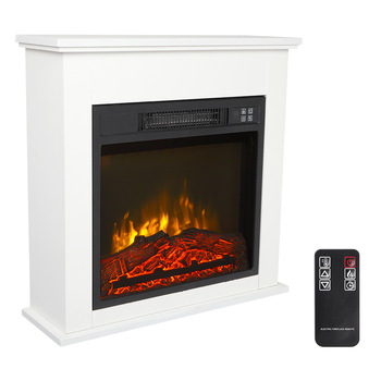 Electric Fireplace w/ White Wood Cabinet  1