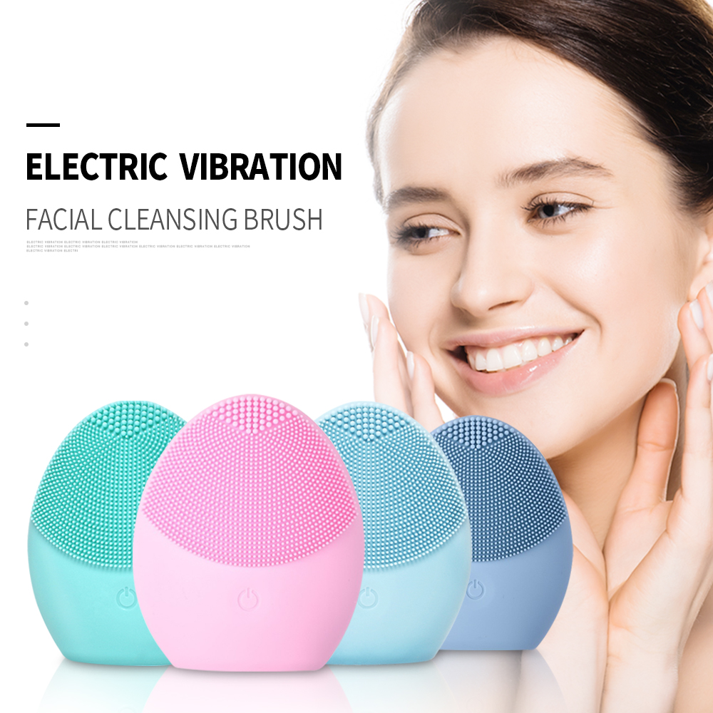 Electric Mini Facial Cleansing Brush Massager Brush For Wash Face Cleanser Machine Deep Clean Silicone Cleaner Foreoinger