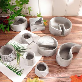 Mini Flowerpot Silicone Concrete Mold Geometry Tray Mould Cement Flower Pot Planter Mold Silicone Molds For Plaster Clay Crafts handmade flowerpot making silicone cement molds for clay concrete diy pot mold