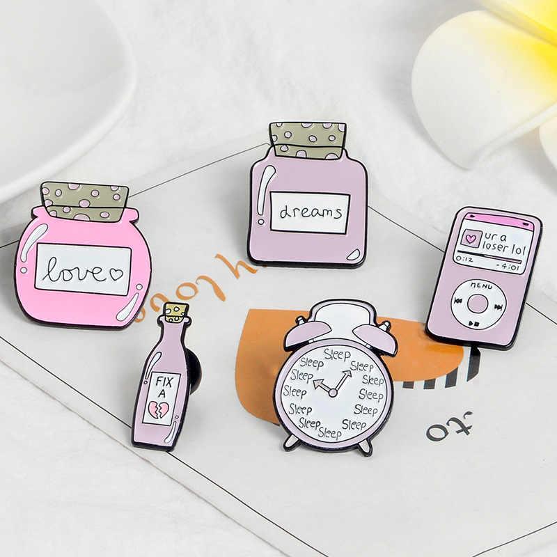 Liebe Serie Können Flasche Emaille Pin Schlafen uhr U r eine verlierer Maschine Brosche Denim Jeans hemd tasche Geschenk für freunde