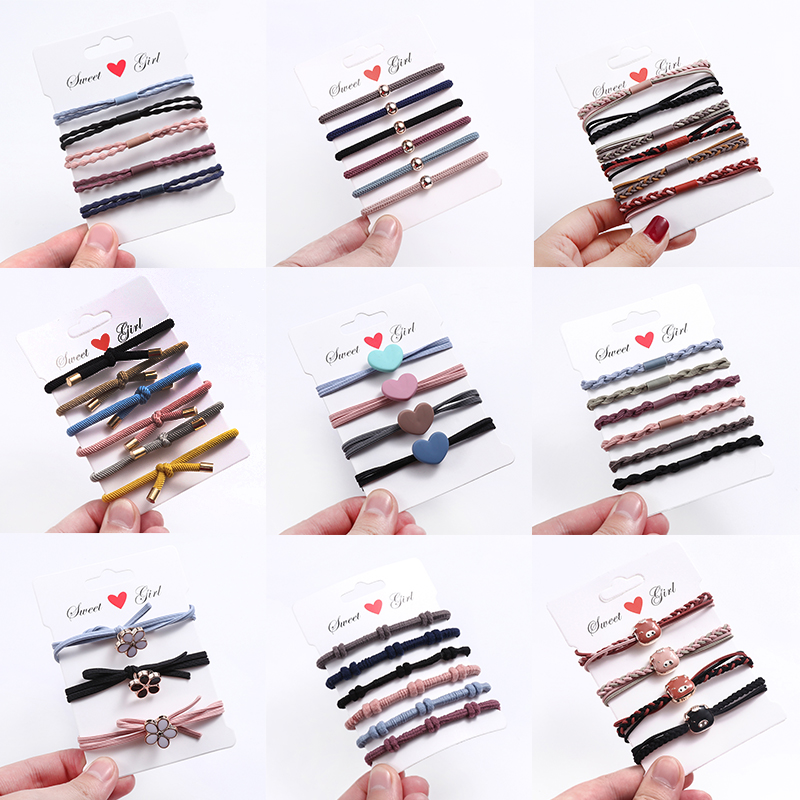 1set New Women Girls Cute Colorful Elastic Hair Bands Ponytail Holder Scrunchie Rubber Bands Headband Fashion Hair Accessories