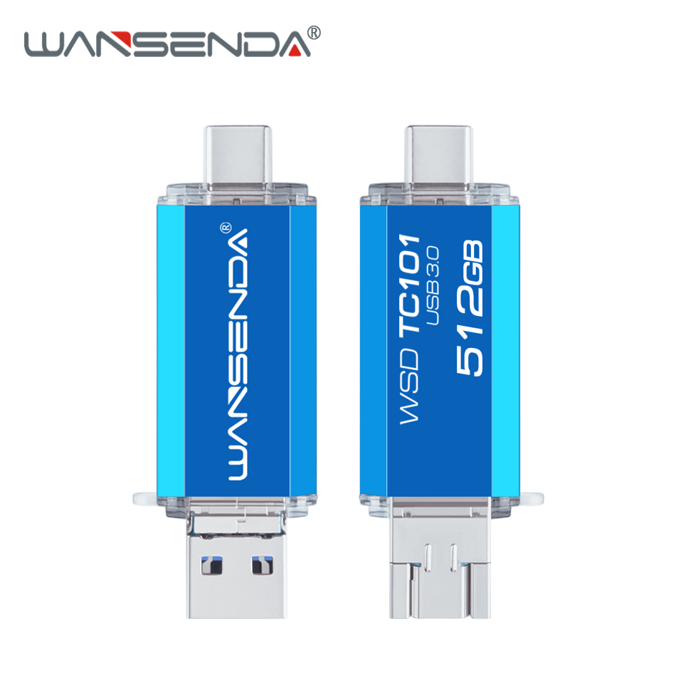WANSENDA OTG USB Flash Drive 3 In 1 USB 3.0 Type-C Micro Usb Stick Pen Drive 512GB 256GB 128GB 64GB 32GB Memory Stick Pendrives