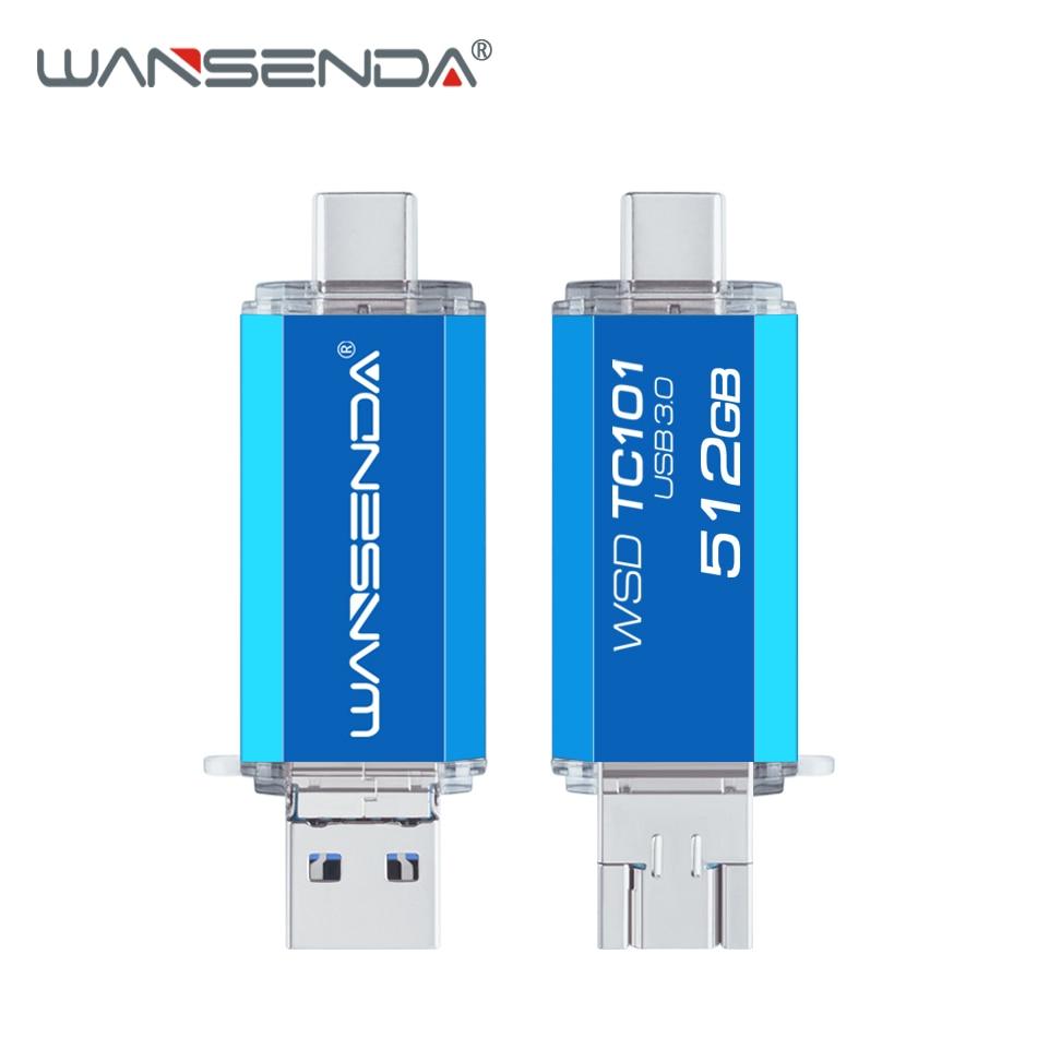 WANSENDA OTG USB Flash Drive 3 In 1 USB 3.0 Type-C Micro Usb Stick Pen Drive 512GB 256GB 128GB 64GB 32GB Memory Stick Pendrives