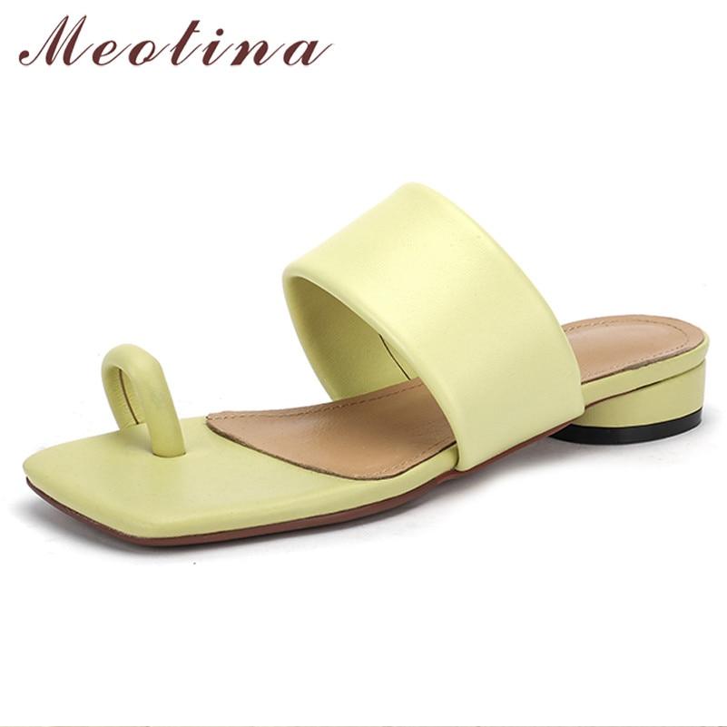 Meotina Flip Flops Natural Genuine Leather Low Heel Slippers Square Toe Block Heel Ladies Sandal Summer Casual Women Shoes New