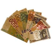 Billetes dorados coloridos, dinero de papel chapado en oro europeo, 8 Uds., billetes de papel de aluminio dorado con certificado, vale la pena coleccionar, gran oferta