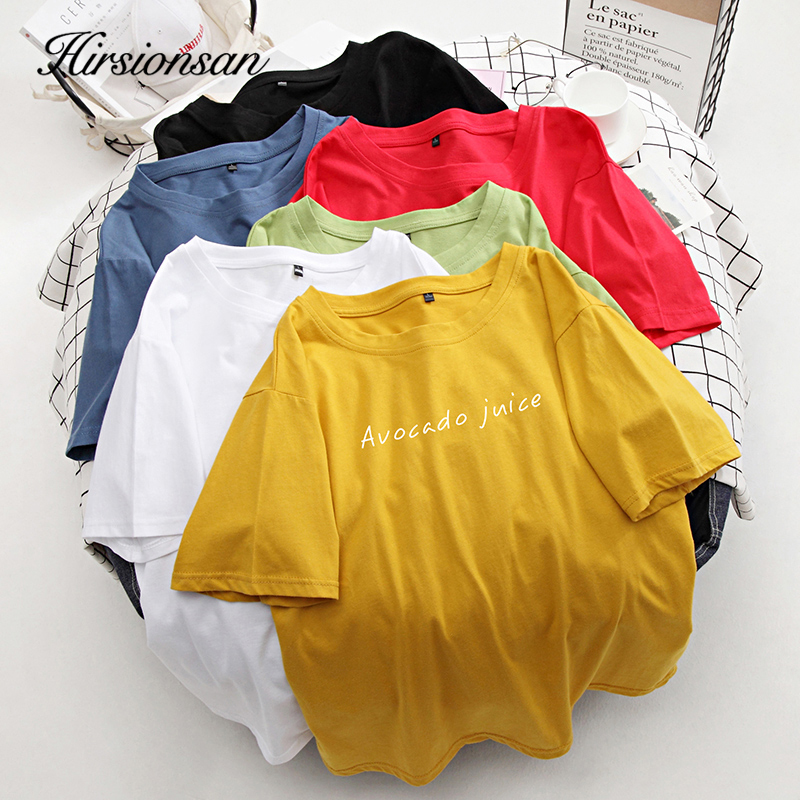 Hirsionsan T Shirt Women Soft Chic Tees Letter Harajuku Jumper 100% Cotton Clothes Oversized Casual Pullover New 7 Colors Tops