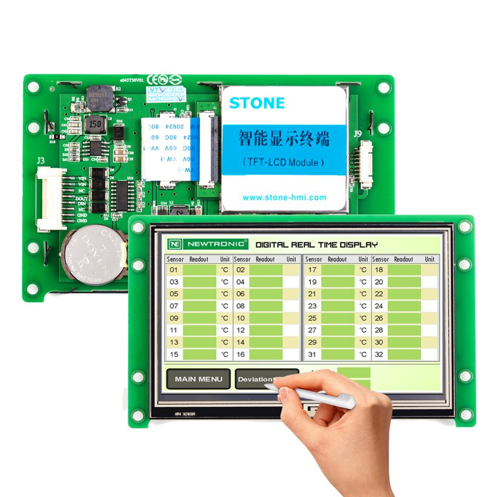 Programmable Touch Screen 4.3 inch with Controller + Software + UART Serial Interface